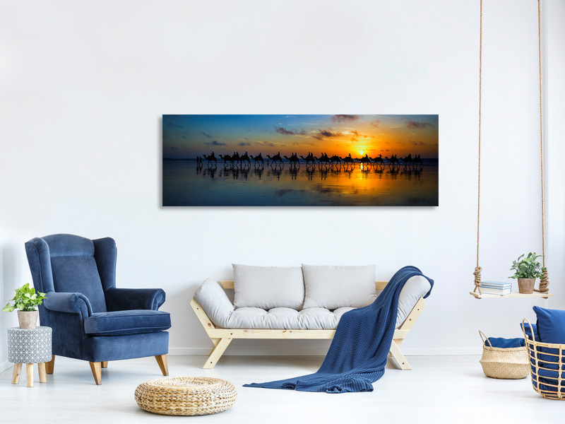 Panoramic Canvas Print Sunset Camel Ride