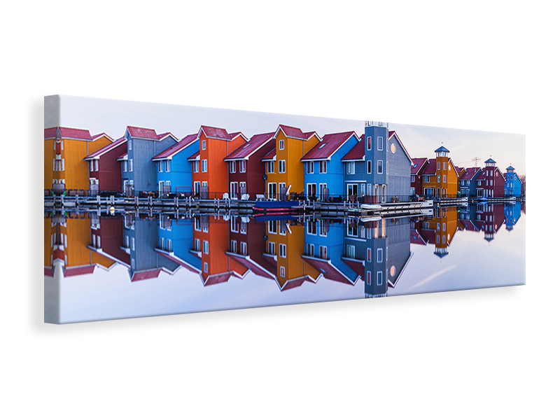 Panoramic Canvas Print Colored Homes
