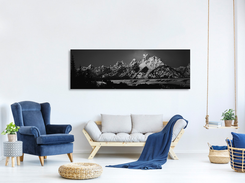 Tableau sur Toile Panoramique Full Moon Sets In The Teton Mountain Range
