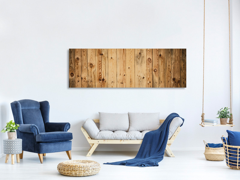 Panoramic Canvas Print Walnut Wood