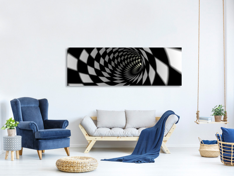 Stampa su tela Panoramica Tunnel astratto in bianco e nero