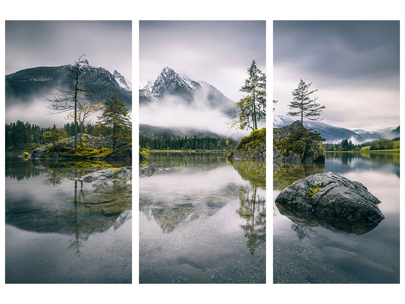 Tableau sur Toile en 3 parties Rainy Morning At Hintersee