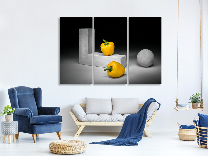 Tableau sur Toile en 3 parties Yellow Bell Peppers
