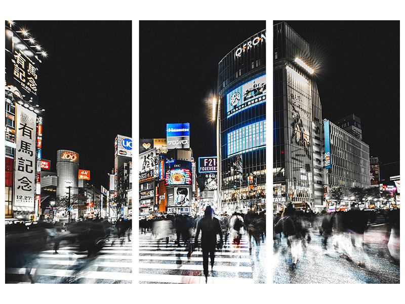 3 Piece Canvas Print Shibuya Crossing