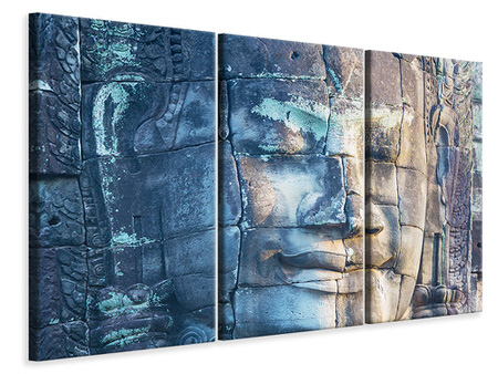 3 Piece Canvas Print Buddha in Rock