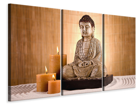 3 Piece Canvas Print Buddha In Meditation