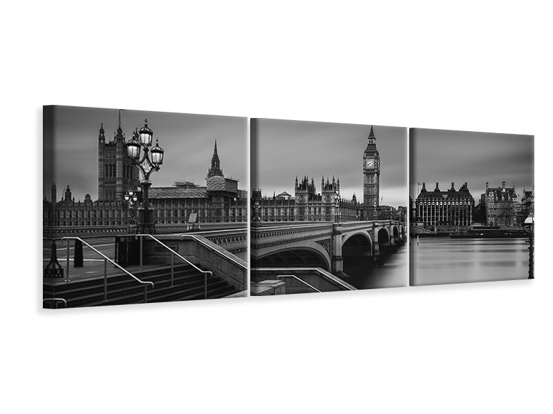 Panoramic 3 Piece Canvas Print Westminster Bridge