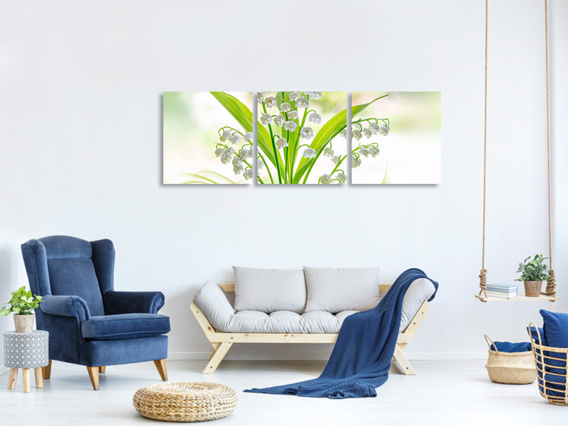 Panoramic 3 Piece Canvas Print Lily Of The Valley II