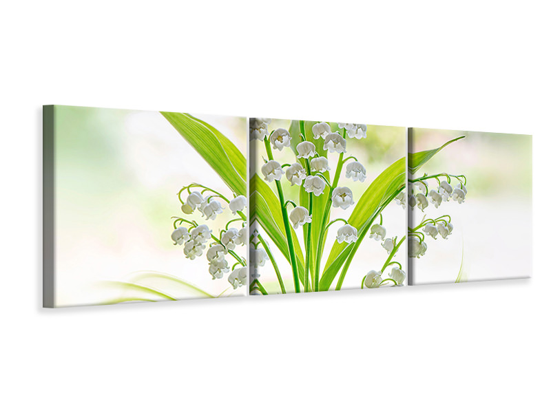 Tableau sur toile en 3 parties panoramique Lily Of The Valley II