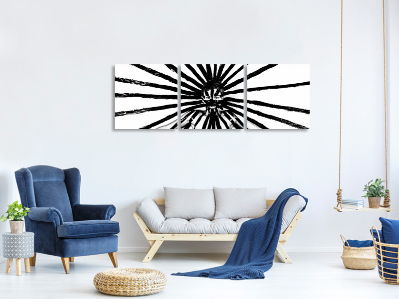Panoramic 3 Piece Canvas Print Radiation