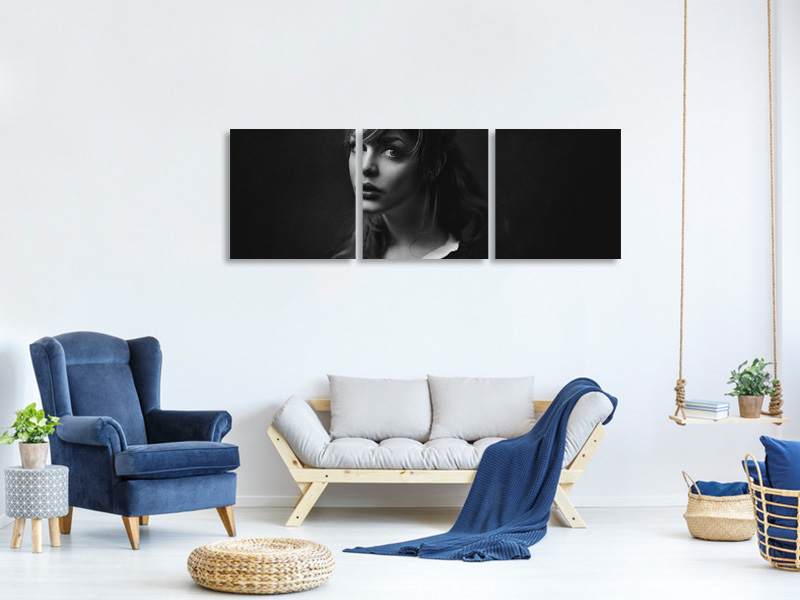 Panoramic 3 Piece Canvas Print Topaz
