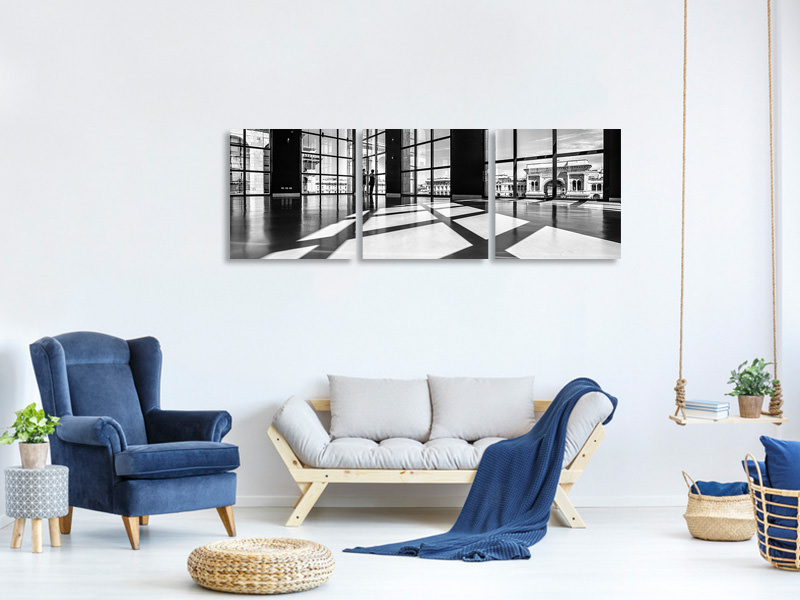 Panoramic 3 Piece Canvas Print Lights And Shadows