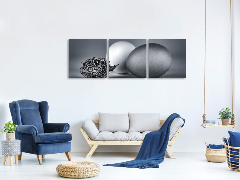 Panoramic 3 Piece Canvas Print Meeting With The Mechanical Life