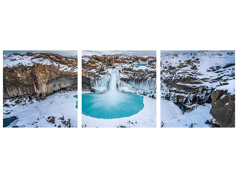 Panoramic 3 Piece Canvas Print Aldeyjarfoss - The Wide View