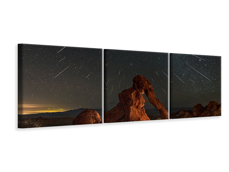 Panoramic 3 Piece Canvas Print Geminid Meteor Shower Above The Elephant Rock