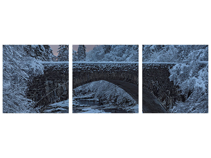 Panoramic 3 Piece Canvas Print Highlands Bridge