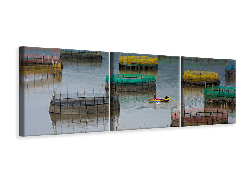 Panoramic 3 Piece Canvas Print Fishing Life
