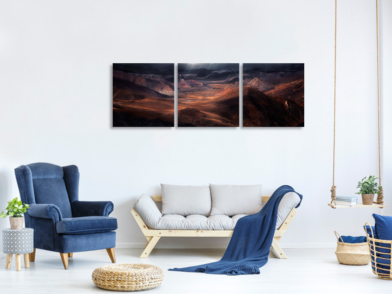 Panoramic 3 Piece Canvas Print The Highland Of The Holy Light