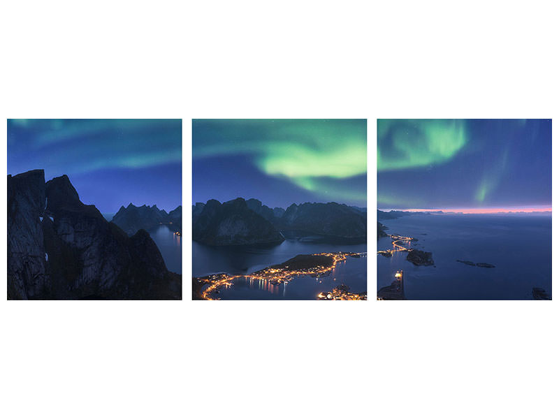 Panoramic 3 Piece Canvas Print Anywhere I Roam