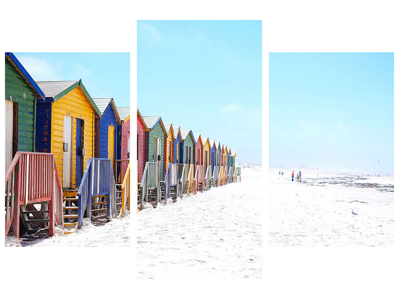 Modern 3 Piece Canvas Print Colorful beach houses