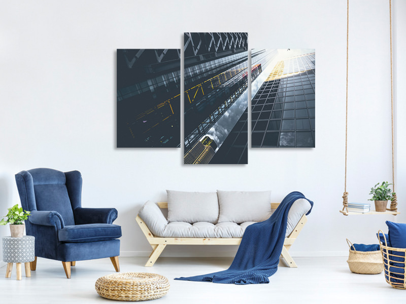 Modern 3 Piece Canvas Print Helicopter over skyscraper