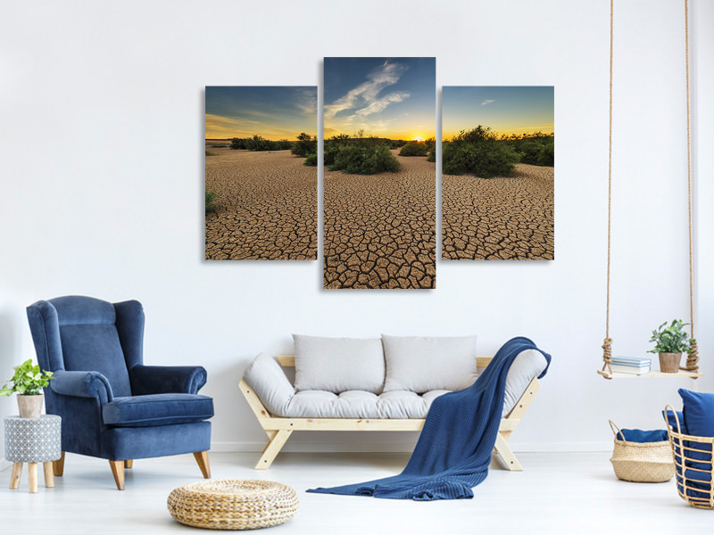 Modern 3 Piece Canvas Print The drought
