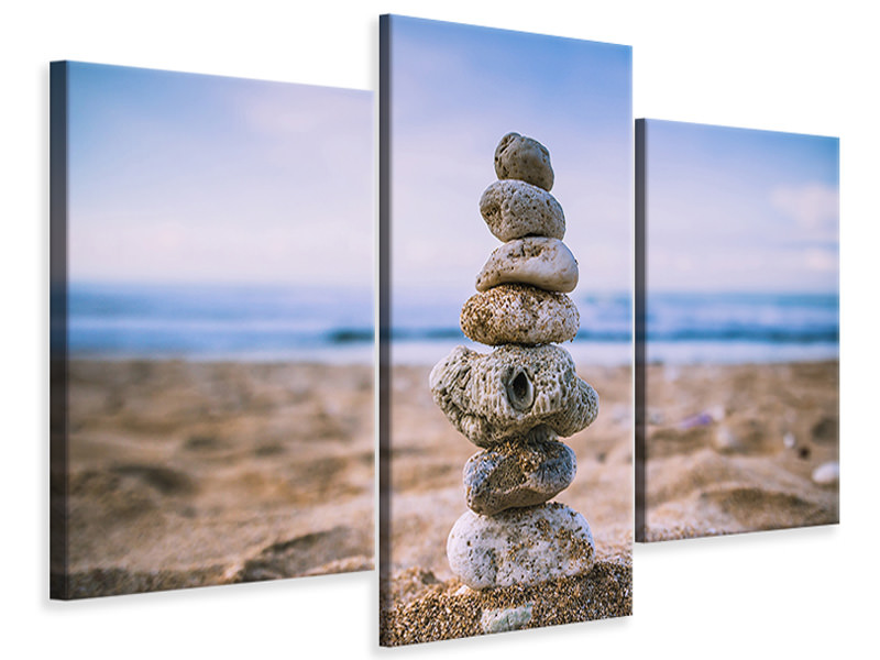 Modern 3 Piece Canvas Print Stone pile on the beach