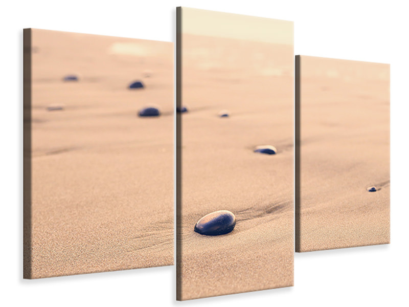 Modern 3 Piece Canvas Print Pebbles in the sand