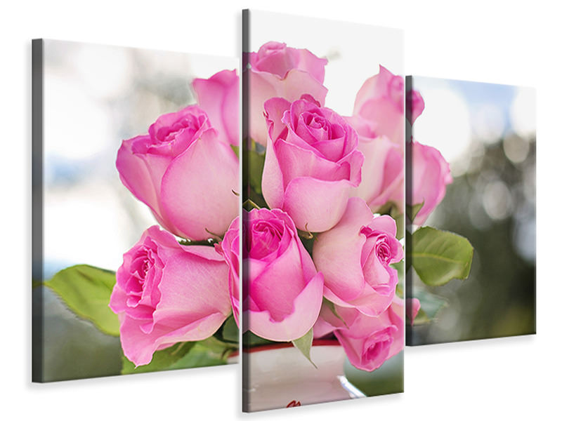 Modern 3 Piece Canvas Print Bouquet of roses in pink