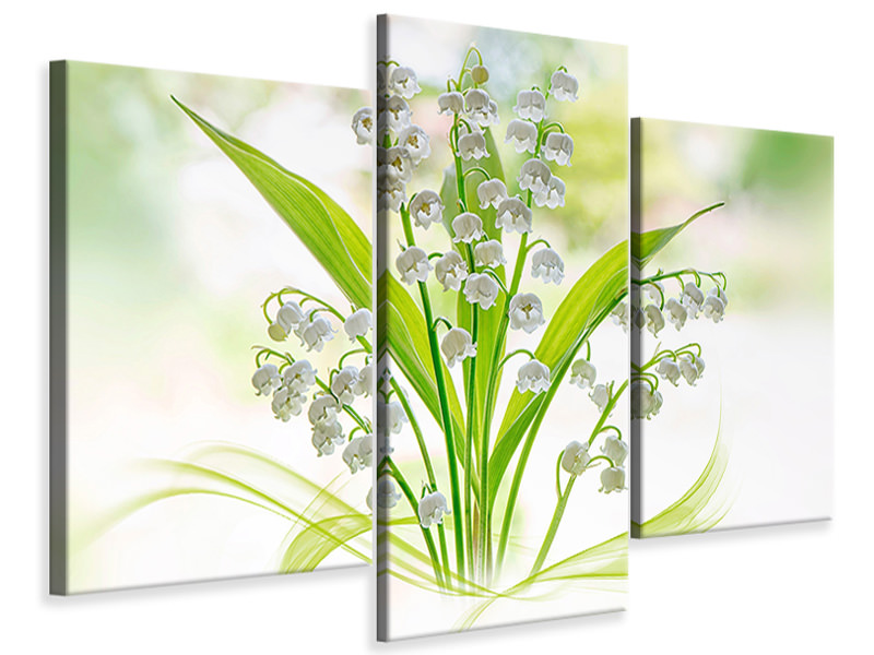 Tableau sur toile en 3 parties moderne Lily Of The Valley II