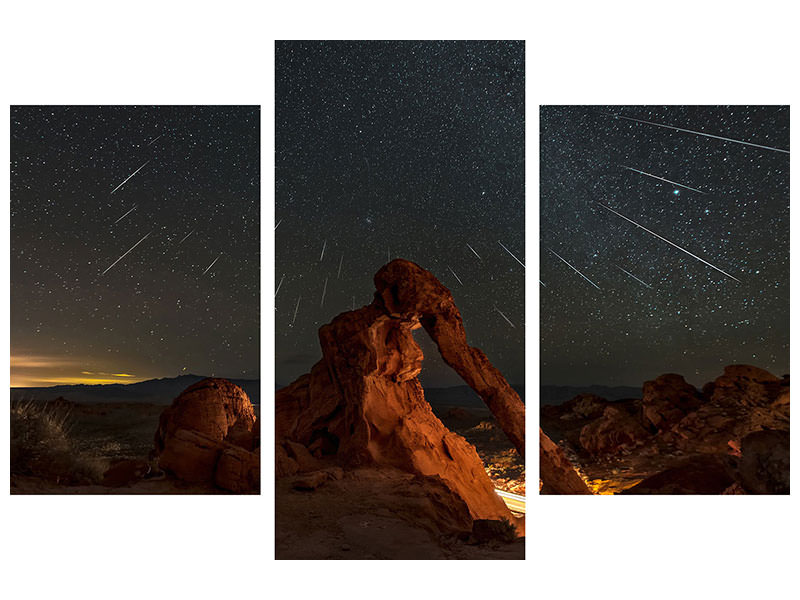 Modern 3 Piece Canvas Print Geminid Meteor Shower Above The Elephant Rock