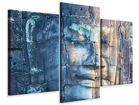 Modern 3 Piece Canvas Print Buddha in Rock