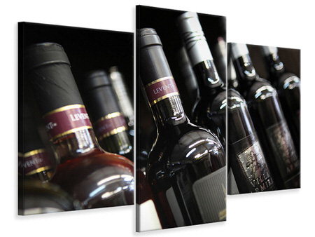 Modern 3 Piece Canvas Print Bottled Wines