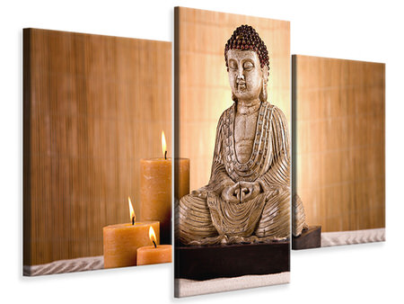 Modern 3 Piece Canvas Print Buddha In Meditation
