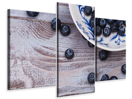 Modern 3 Piece Canvas Print Blueberries
