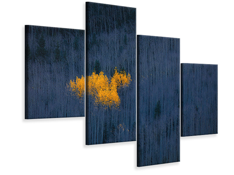 Modern 4 Piece Canvas Print Heart Of Aspens