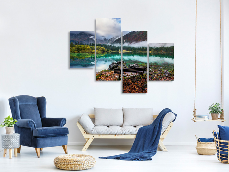 Modern 4 Piece Canvas Print Bench By The Lake