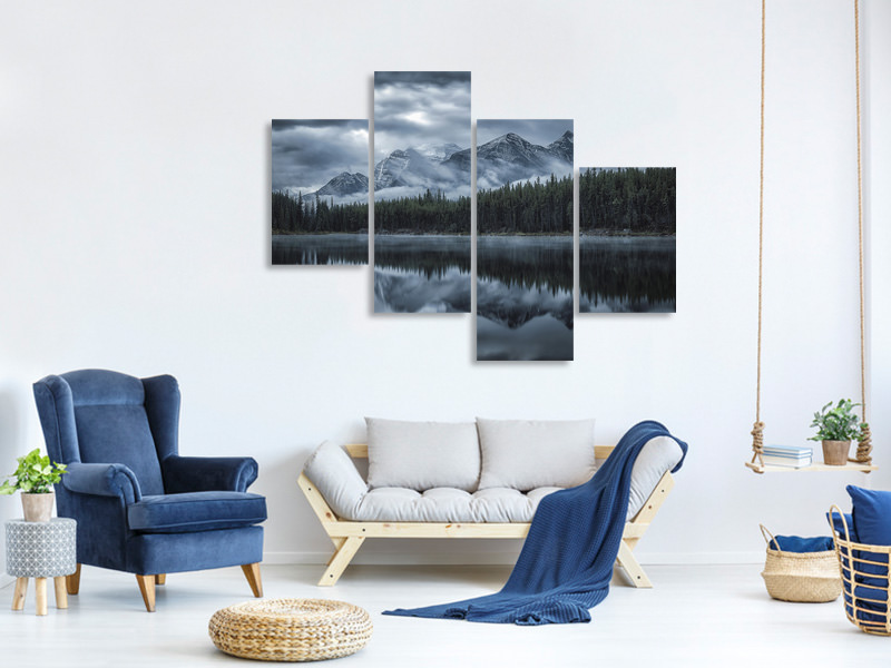Modern 4 Piece Canvas Print Cold Mountains