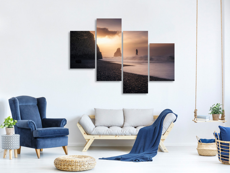 Modern 4 Piece Canvas Print Reynisfjara Sunrise