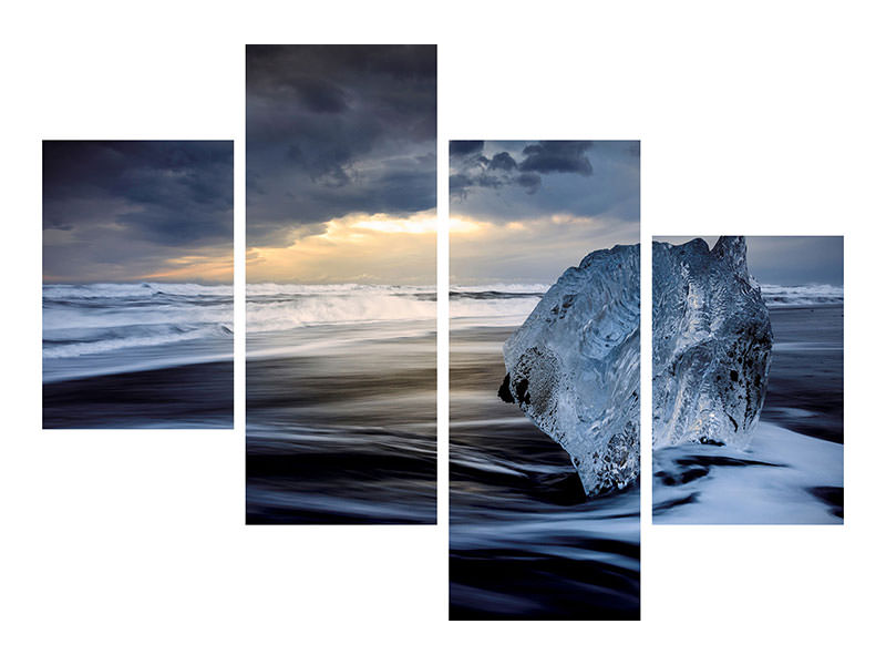 Modern 4 Piece Canvas Print Sunrise Between Ice