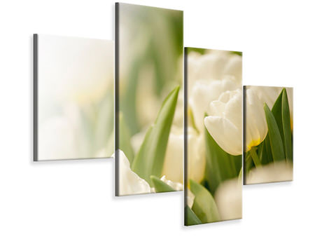 Modern 4 Piece Canvas Print Tulips Perspective