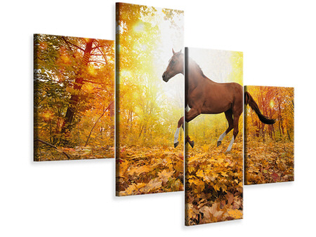 Modern 4 Piece Canvas Print Whole Blood In Autumn Forest
