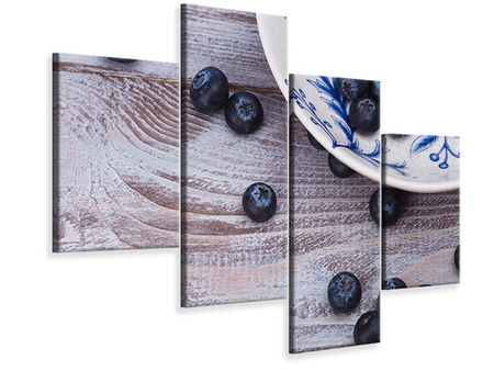 Modern 4 Piece Canvas Print Blueberries