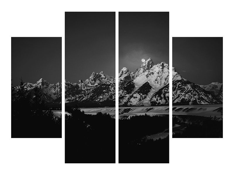 Stampa su tela 4 pezzi Full Moon Sets In The Teton Mountain Range