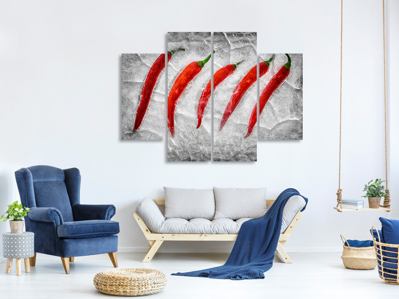4 Piece Canvas Print Frozen Fire