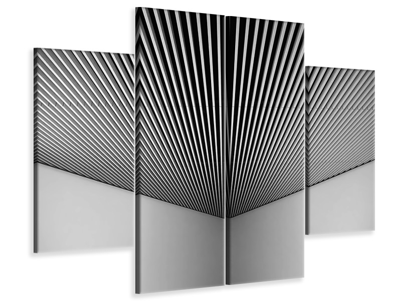 4 Piece Canvas Print Abstract Lines