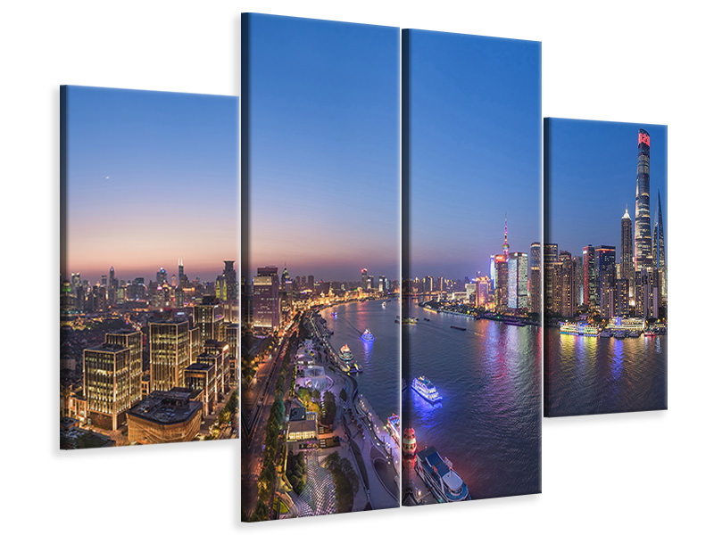 4 Piece Canvas Print The Blue Hour In Shanghai