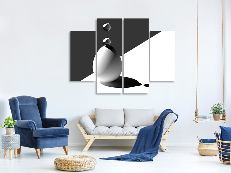 4 Piece Canvas Print Drops On Egg