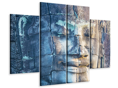 4 Piece Canvas Print Buddha in Rock