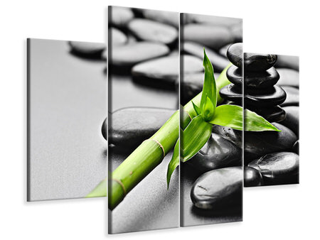 4 Piece Canvas Print Polished Stones